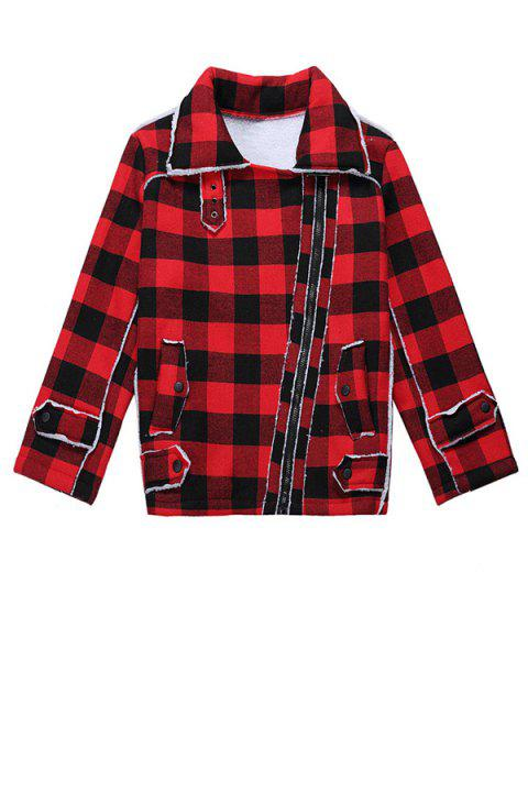Stylish Turn-Down Collar Long Sleeve Plaid Letter Pattern Splicing Women's Jacket - RED ONE SIZE(FIT SIZE XS TO M)