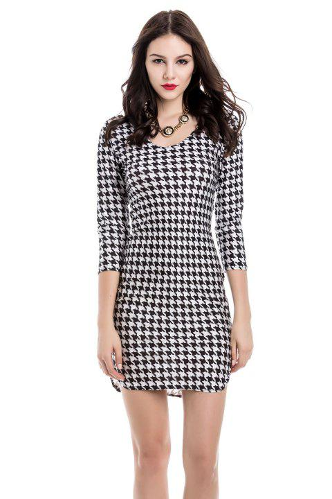 Sexy Houndstooth Off-The-Shoulder 3/4 Sleeve Dress For Women - WHITE/BLACK M