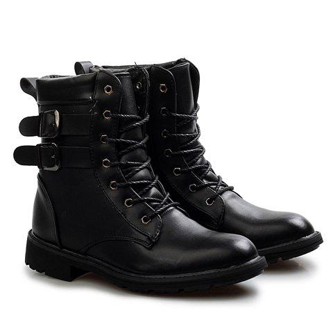 3e6f9e6405a92 17% OFF  2019 Street Style Buckles and Lace-Up Design Flat Boots For ...