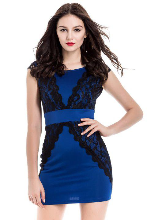 Charming Jewel Neck Lace Splicing Backless Short Sleeve Dress For Women - BLUE M