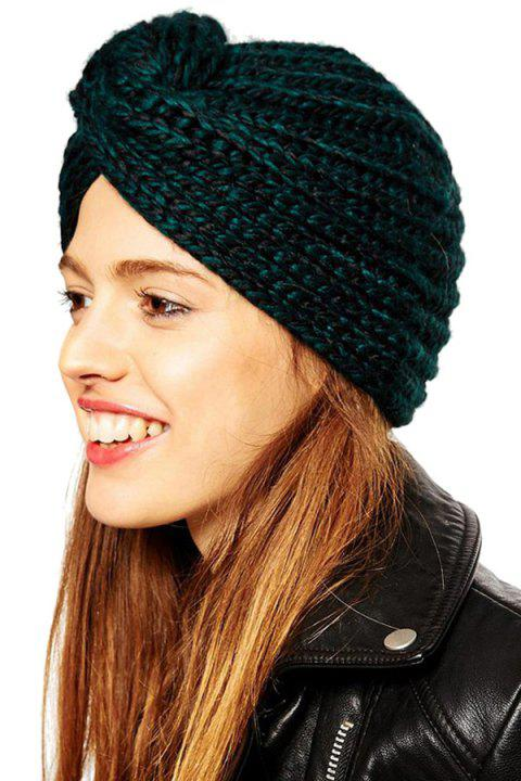 Chic Knot Design Knitted Hat For Women - GREEN L