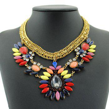 Stylish Gorgeous Women's Faux Gemstone Decorated Drop Necklace