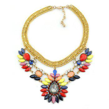 Stylish Gorgeous Women's Faux Gemstone Decorated Drop Necklace - COLORFUL