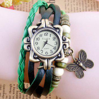 Chic Butterfly Pendant Embellished Multi-Layered Bracelet Watch For Women