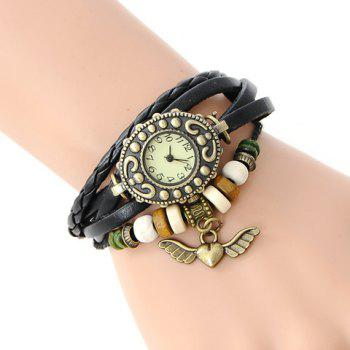 Stylish Women's Angel Wings Pendant Layered Chain Bracelet Watch
