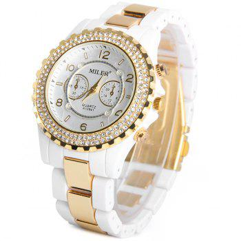 Miler A12841 Female Quartz Watch Round Dial Diamond Ceramic + Steel Watchband