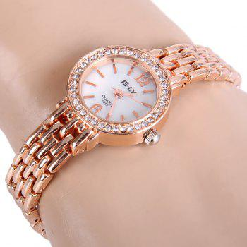 IE-LY E057 Female Diamond Quartz Watch Round Dial Steel Band Chain Wristwatch