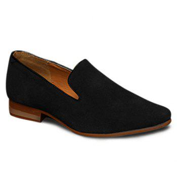 Concise Suede and Pointed Toe Design Loafers For Men - BLACK 43