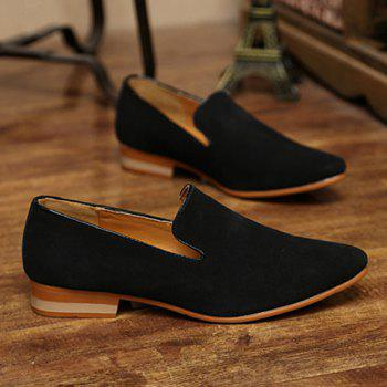 Concise Suede and Pointed Toe Design Loafers For Men - 43 43