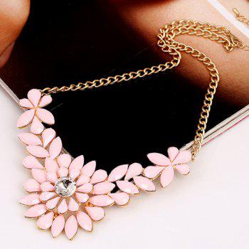 Sophisticated Solid Color Faux Gem Embellished Flower Shape Women's Necklace - PINK