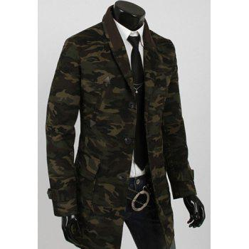 Camouflage Style Turn-down Collar Multi-Pocket Slimming PU Leather Embellished Long Sleeves Men's Blazer - M M