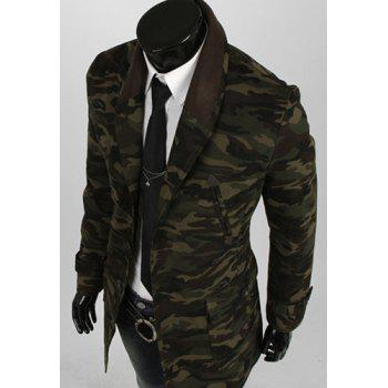Camouflage Style Turn-down Collar Multi-Pocket Slimming PU Leather Embellished Long Sleeves Men's Blazer - CAMOUFLAGE CAMOUFLAGE
