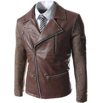 Trendy Turn-down Collar Multi-Zipper Slimming Color Block Long Sleeves Men's PU Leather Coat