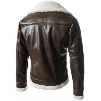 Modern Style Fur Collar Slimming Inclined Zipper Fly Solid Color Long Sleeves Men's PU Leather Coat - L L
