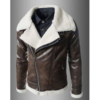 Modern Style Fur Collar Slimming Inclined Zipper Fly Solid Color Long Sleeves Men's PU Leather Coat - BROWN L