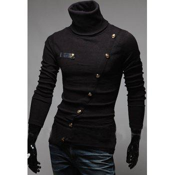 Stylish Turtleneck Solid Color Slimming Metal Button Embellished Long Sleeves Men's T-Shirt - BLACK L