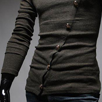 Stylish Turtleneck Solid Color Slimming Metal Button Embellished Long Sleeves Men's T-Shirt - L L