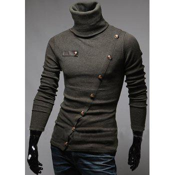 Stylish Turtleneck Solid Color Slimming Metal Button Embellished Long Sleeves Men's T-Shirt - ARMY GREEN M