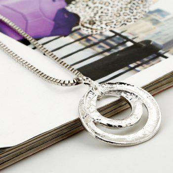 Dazzling Round Shape Pendant Women's Sweater Chain Necklace - SILVER