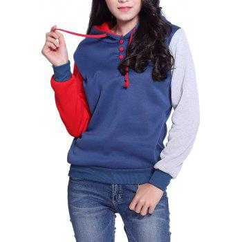 Side Pockets Design Color Block Long Sleeve Hooded Loose Sweatshirt - RED 2XL