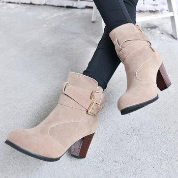 Chunky Heel Ankle Boots - GRAY 38