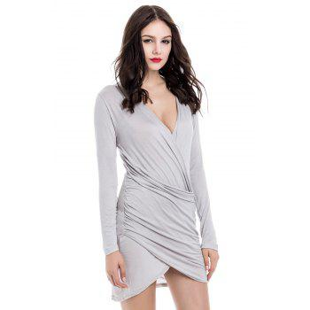 Solid Color Packet Buttock Asymmetrical Hem Long Sleeve Plunging Neck Dress - L L