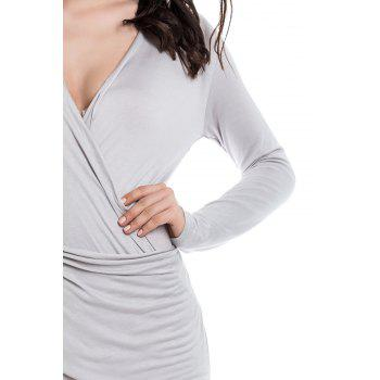 Solid Color Packet Buttock Asymmetrical Hem Long Sleeve Plunging Neck Dress - AS THE PICTURE AS THE PICTURE