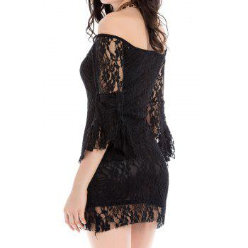 Sexy Flared Sleeve Boat Neck Lace Dress For Women - ONE SIZE ONE SIZE