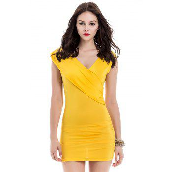 Women's Charming Pleated Solid Color Sleeveless Bodycon Dress