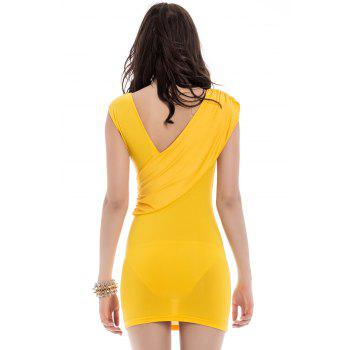 Women's Charming Pleated Solid Color Sleeveless Bodycon Dress - YELLOW ONE SIZE