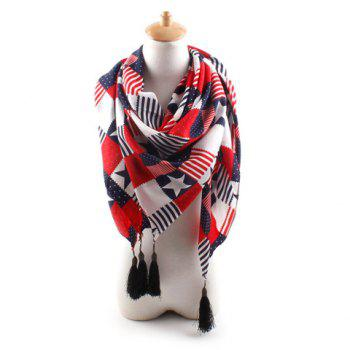 Chic Flag and Star Pattern Tassel Decorated Women's Scarf