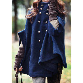Fashionable Double-Breasted Stand Collar Cape Coat For Women