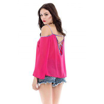 Stylish Spaghetti Strap Backless Long Sleeve Women's Blouse - RED RED