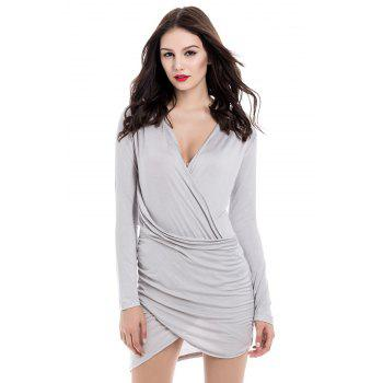 Solid Color Packet Buttock Asymmetrical Hem Long Sleeve Plunging Neck Dress
