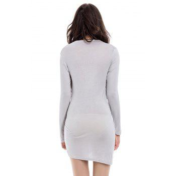 Solid Color Packet Buttock Asymmetrical Hem Long Sleeve Plunging Neck Dress - S S