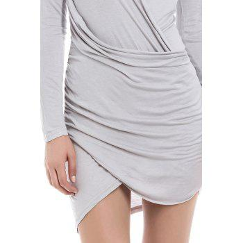 Solid Color Packet Buttock Asymmetrical Hem Long Sleeve Plunging Neck Dress - AS THE PICTURE S