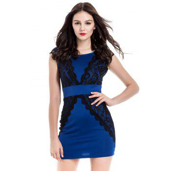Jewel Neck Lace Splicing Short Sleeve Backless Dress For Women