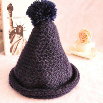 Chic Hemming and Pointed Design Solid Color Women's Knitted Hat - COLOR ASSORTED