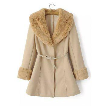 Faux Fur Splicing Turn-Down Collar Long Sleeve Slimming Trendy Style Women's Coat