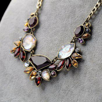 Ethnic Style Secondary Color Gemstone Embellished Women's Necklace - AS THE PICTURE