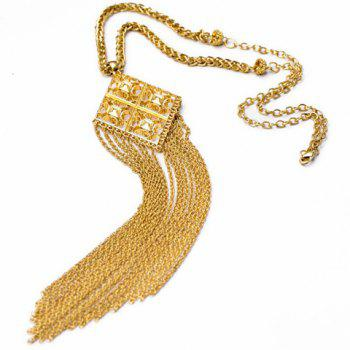 Attractive Solid Color Tassel Embellished Women's Sweater Chain Necklace - GOLDEN GOLDEN