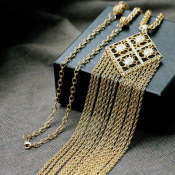 Attractive Solid Color Tassel Embellished Women's Sweater Chain Necklace -  GOLDEN