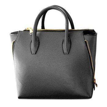 Stylish Metallic Zipper and Solid Color Design Tote Bag For Women - BLACK BLACK
