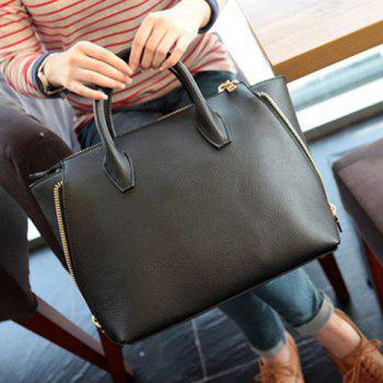 Stylish Metallic Zipper and Solid Color Design Tote Bag For Women -  BLACK