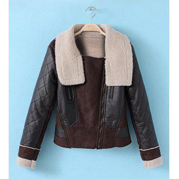 Turn Down Collar Long Sleeve PU Leather Splicing Zippered Jacket For Women