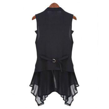 Fashionable Solid Color Turn-Down Collar Chiffon Waistcoat For Women - BLACK M
