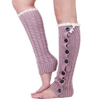 Pair of Chic Lace and Button Decorated Women's Knitted Leg Warmers -  COLOR ASSORTED