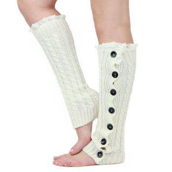 Pair of Chic Lace and Button Decorated Women's Knitted Leg Warmers