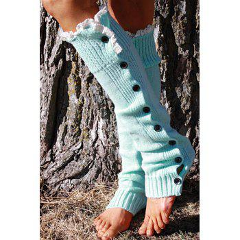 Pair of Chic Lace and Button Decorated Solid Color Women's Knitted Leg Warmers -  COLOR ASSORTED