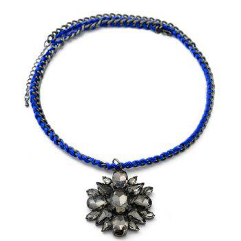 Stylish Chic Women's Rhinestone Flower Necklace - COLOR ASSORTED